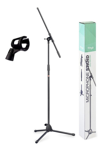 pedestal microfone stagg + cachimbo p/ mic s/ fio mis-0822bk