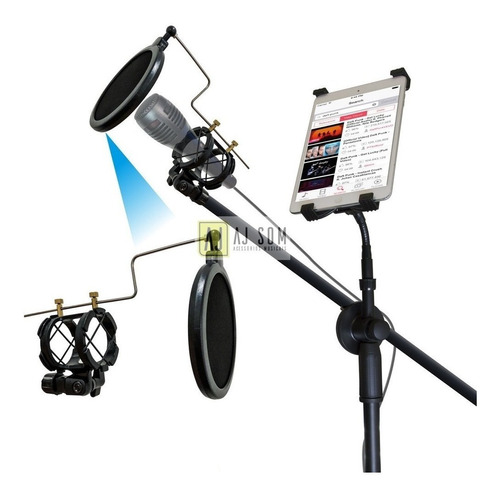 pedestal multiuso microfone+pop filter+aranha+sup tablet