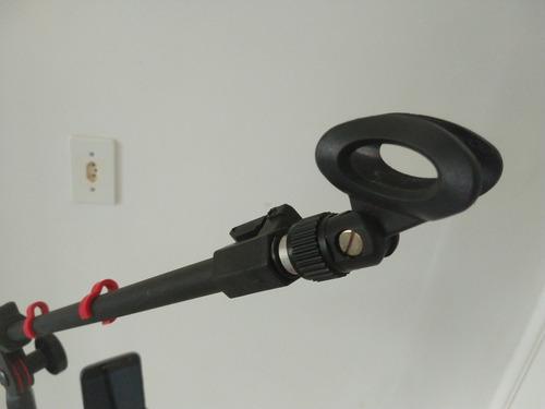 pedestal rmv para microfone c/ cachimbo e suporte para cel