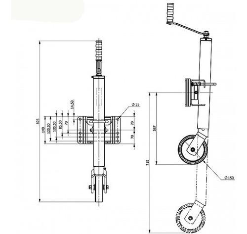 pedestal roda carretinha reboque tira engate sapata 500 kg