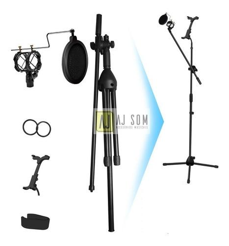 pedestal suporte microfone+pop filter+shockmount+sup tablet