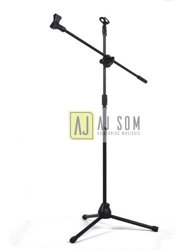 pedestal,reto/girafa (híbrido) duplo p/microfone+cachimbo