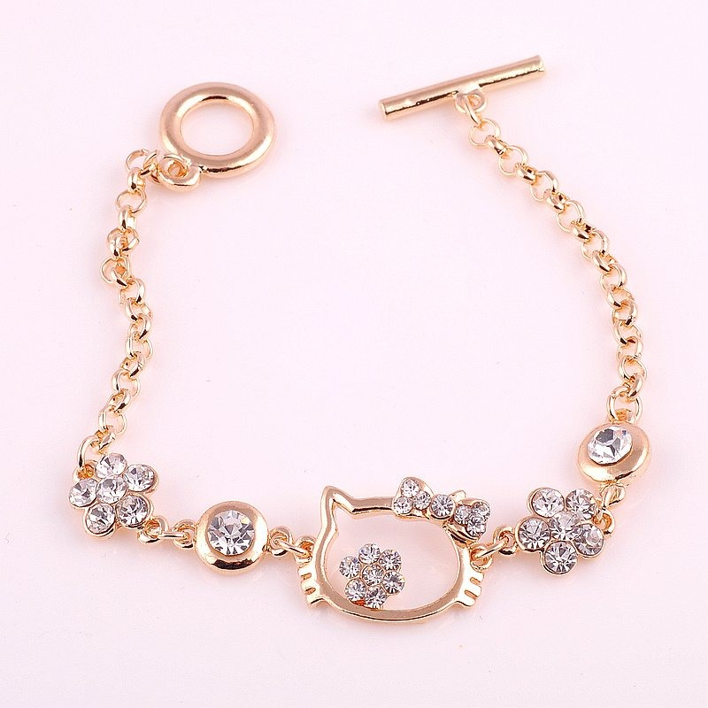 pedido lindas pulseras doradas de hello kitty x 10 piezas