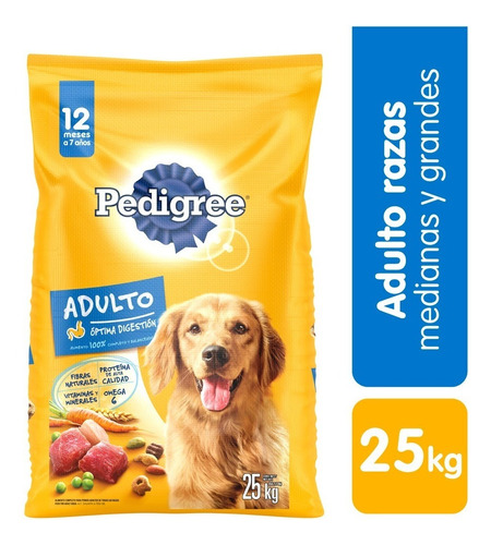 pedigree alimento para perro adulto 25 - kg a $7040