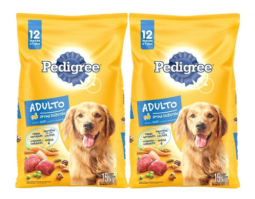 pedigree alimento perro adulto 15kg x 2 packs