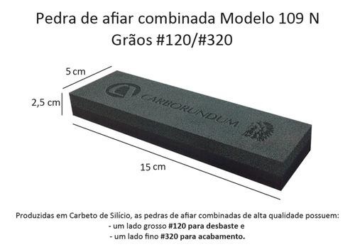pedra para afiar dupla face carborundum 109n grãos 120 e 320