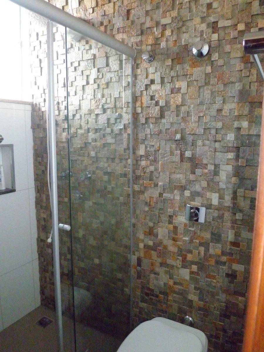 Pedra S O Tom Mosaicos Telados Filetes Revestimento Parede R 12  -> Parede Da Sala Com Filetes