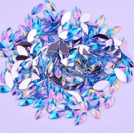 pedraria de unha, navete rivoli 5x8 azul 500pcs