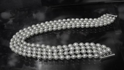 pedras - colar choker, 4v pérolas, prata, cód145c128-0