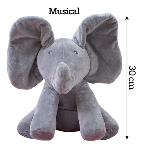 peek a boo elefante pelúcia musical canta mexe orelhas cinza