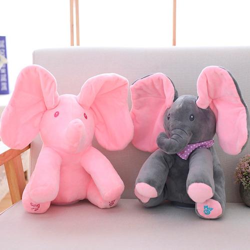 peek a boo elefante pelúcia musical canta mexe orelhas rosa