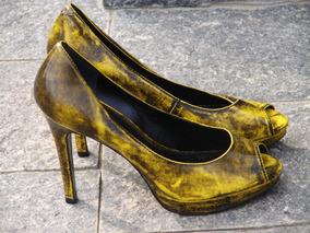 433e6f4b57 Sapato Amarelo Arezzo Peep Toe 35 no Mercado Livre Brasil