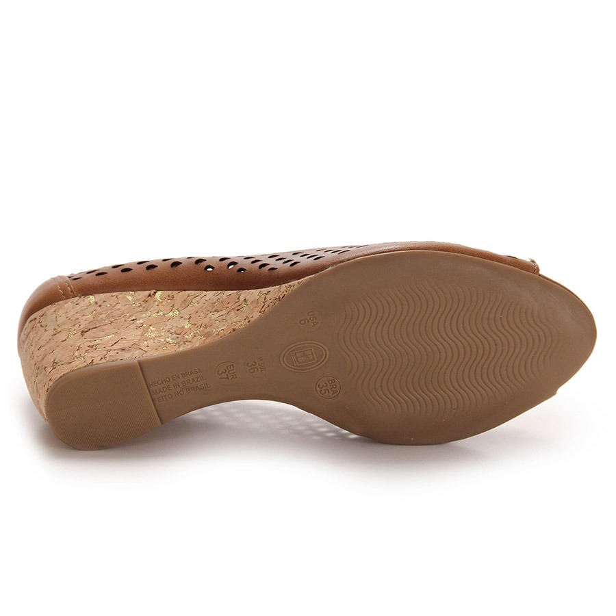 b094ff248b peep toe anabela feminino bottero - caramelo. Carregando zoom.
