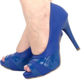 2e1176e88 Salta Fino Azul Feminino Peep Toe - Sapatos no Mercado Livre Brasil