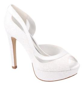 1e14d6639 Scarpin Branco Em Cetim - Calçados, Roupas e Bolsas com o Melhores ...