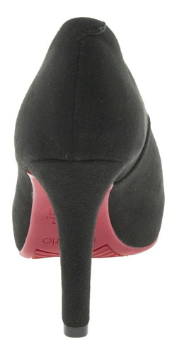 peep toe feminino salto alto beira rio - 4180201 preto/camur