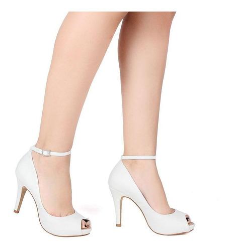 peep toe feminino salto alto e pulseira spaço criativo