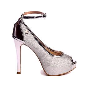 bcd21bf9f Sapato Peep Toe Glitter Prata Feminino - Sapatos com o Melhores Preços no  Mercado Livre Brasil