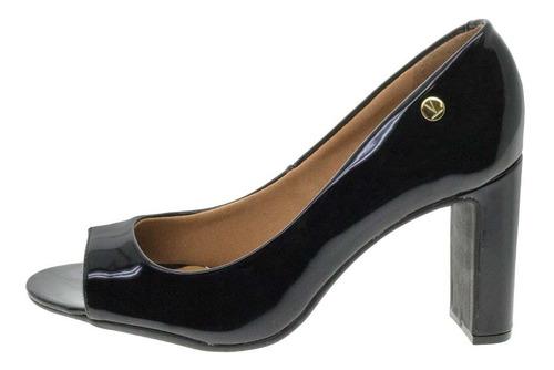 peep toe feminino salto alto vizzano - 1297100 verniz/preto
