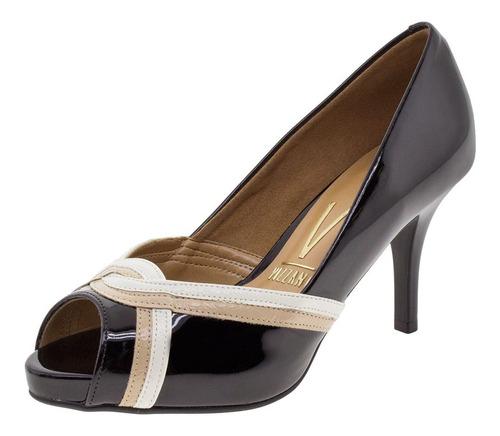 peep toe feminino salto alto vizzano - 1781463 verniz/preto