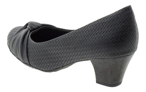 peep toe feminino salto baixo piccadilly - 714096 preto/croc