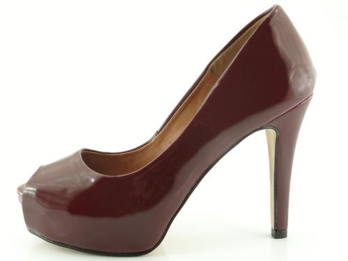 peep toe glamm meia pata vinho sapatos mania