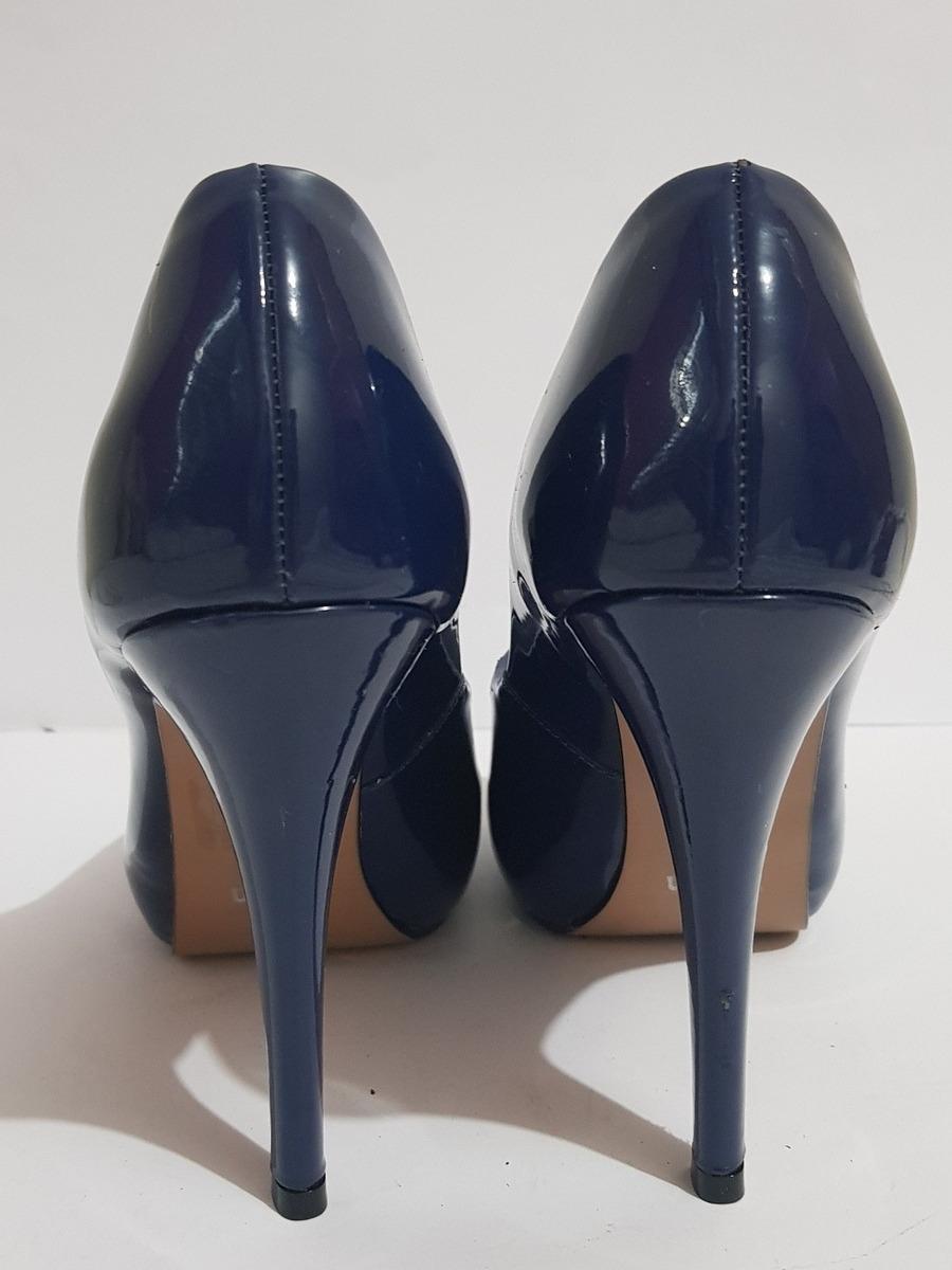 612977908 Peep Toe Meia Pata Azul Marinho Vernon - R$ 50,00 em Mercado Livre