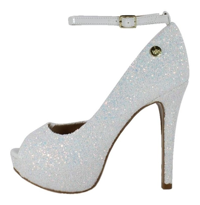 eb9fc8293 peep toe salto alto week shoes glitter branco furtacor. Carregando zoom.