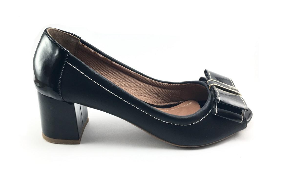 bf4dce9d7 Peep Toe Salto Bloco 5cm Preto Verniz C/ Couro - R$ 99,90 em Mercado ...