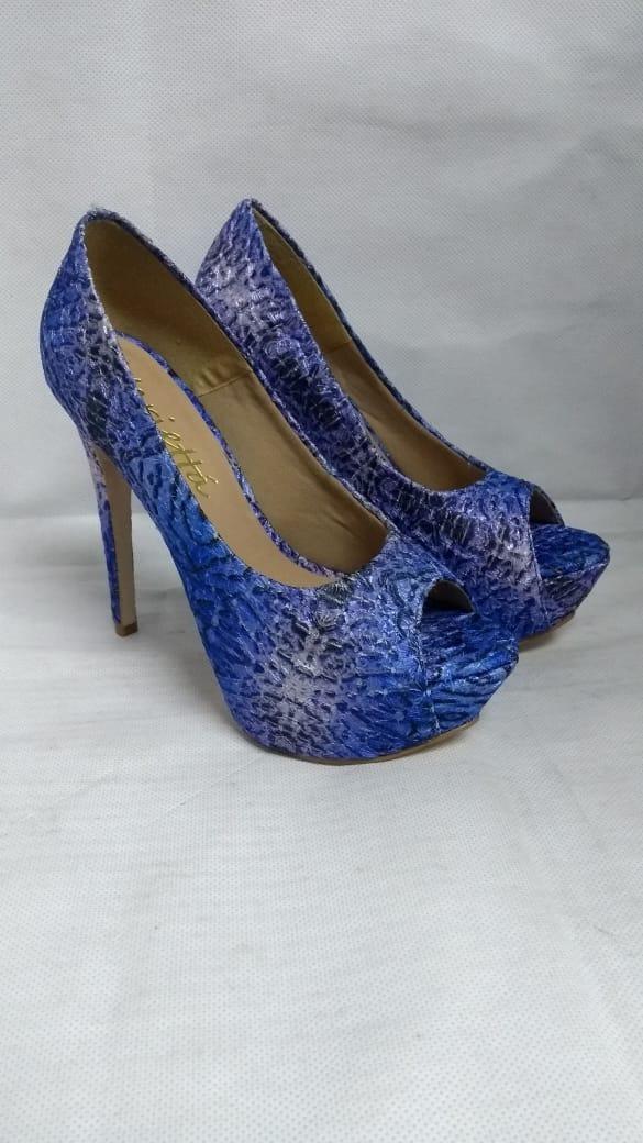 6ce30014f Peep Toe Sapato Feminino Salto Alto Azul Com Brilho Di Paula - R ...