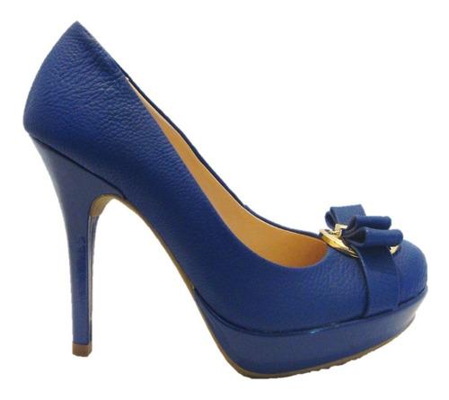 peep toe sapato feminino via uno azul-pronta entrega