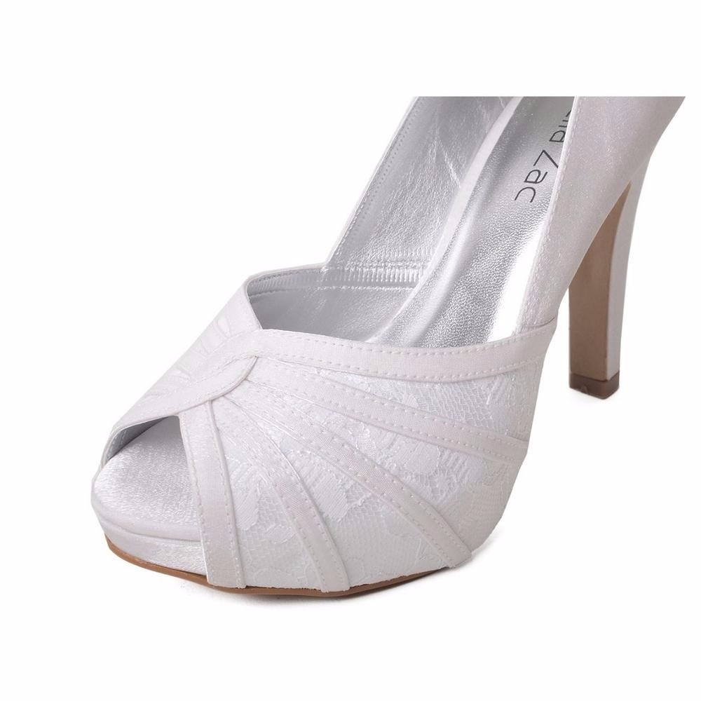 6959e2647 peep toe sapato salto noiva casamento cetim branco renda. Carregando zoom.