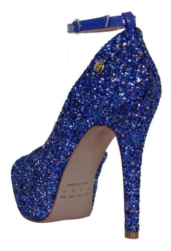 37d4867d6 Peep Toe Week Shoes Salto Alto Meia Pata Glitter Azul - R$ 199,90 em ...