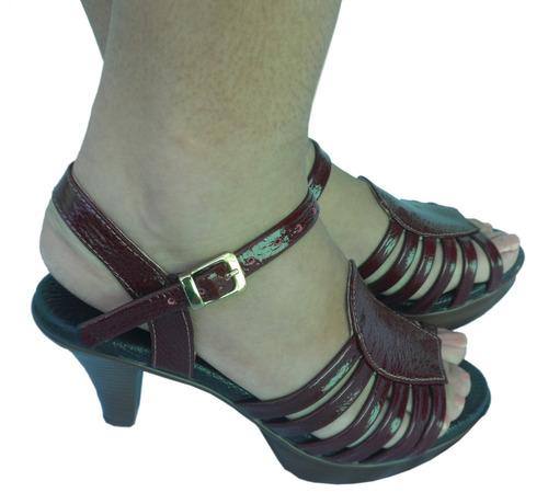 peep toes vinho couro sapato feminino magnética  magnu's