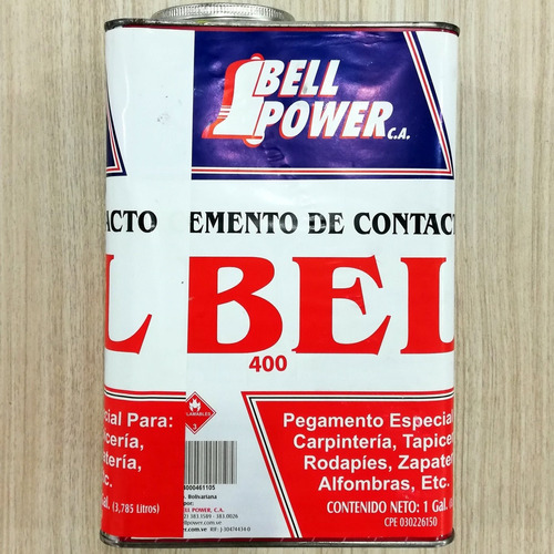 pega amarilla bell power bel 400 galon 3.785lts contac 1000