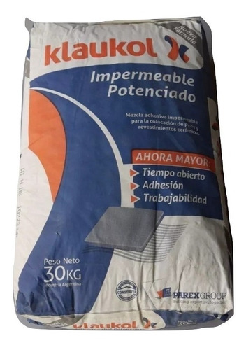 pegamento/adhesivo para ceramica 30 kgs klaukol impermeable