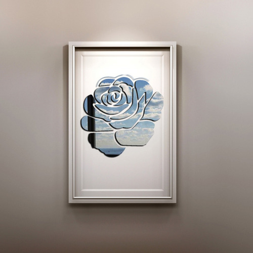 pegatina pared etiqueta habitacion diseño flor 3d espejo