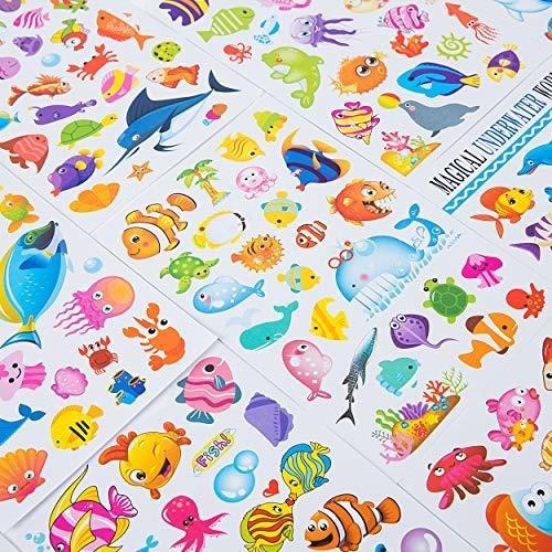 pegatinas sea world para niños con 12 hojas de ángel tiburon
