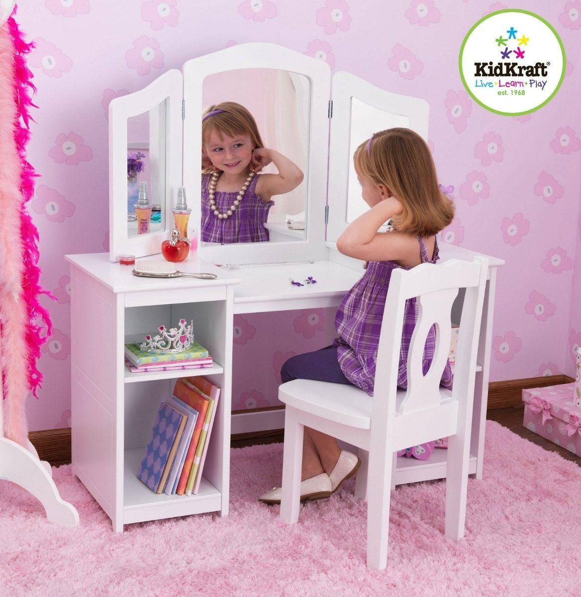Peinador Tocador Para Ni As Kidkraft De Madera Incluye Silla  # Muebles Peinadores De Madera