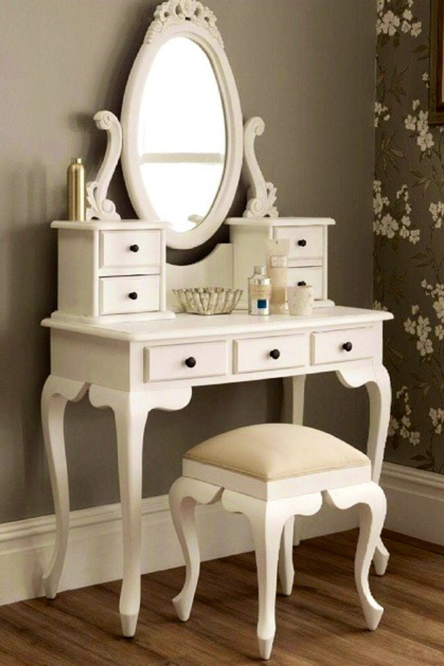 Peinadora comoda espejo madera antigua vintage decoracion for Espejos para comodas de dormitorio