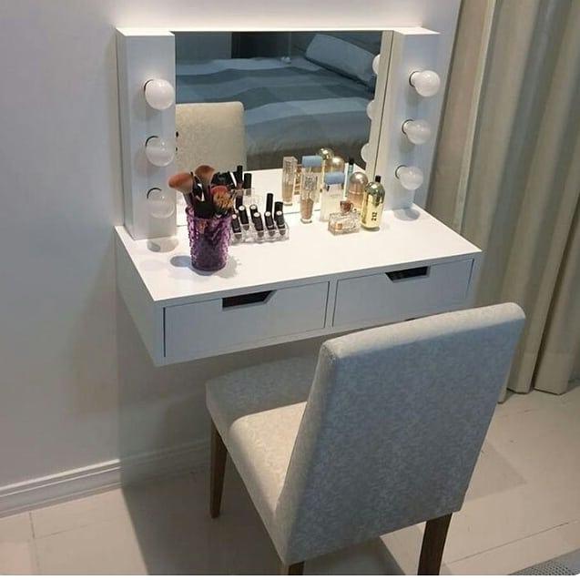 Peinadora tocador maquillaje luces led bs en - Tocador con espejo y luces ...