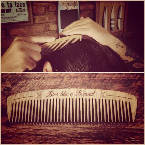 peine artesanal de madera para pelo y barba legends original