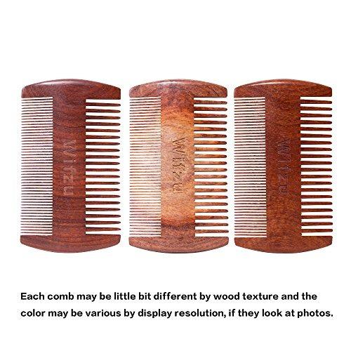 peine barba wifzu, madera de sándalo, doble lado antiestát