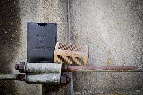 peine de barba de madera - estuche negro de striking viking