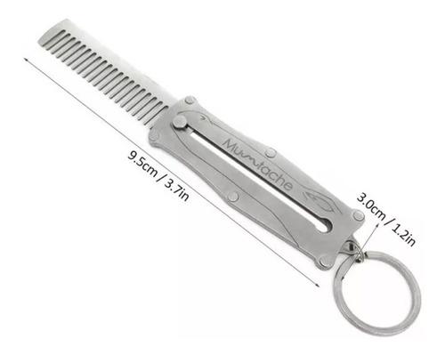 peine para barba de metal en practico llavero
