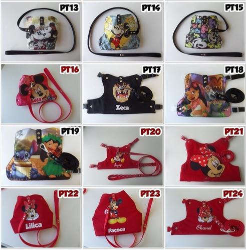 peitoral + guia com nome-roupa pet p/ cães/gatos