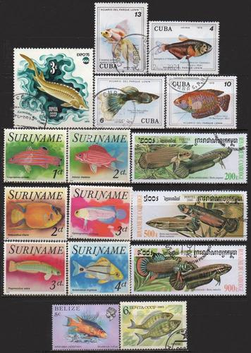 peixes - lote 16 selos diversos