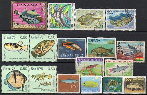 peixes - lote 18 selos diversos