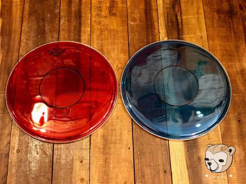 pele remo caixa powerstroke 77 colortone blue/red 13 c/abfad