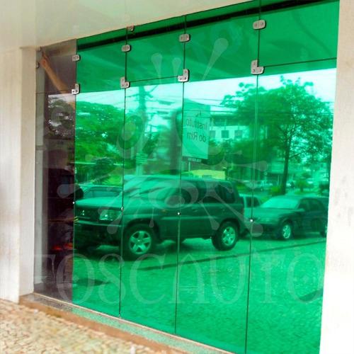 película adesiva filme verde espelhado p/ vidro janela porta